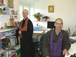 e Journal office at Throssel Hole Buddhist Abbey, Rev. Berwyn (right), Rev. Kyosei (left)